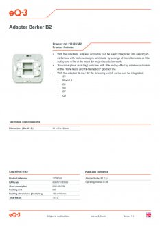 Datasheet van Homematic IP Berker 2 wipvlak adapter