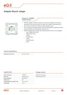 Datasheet van Homematic IP Busch Jaeger wipvlak adapter