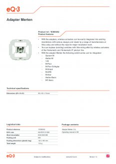 Datasheet van Homematic IP Merten wipvlak adapter