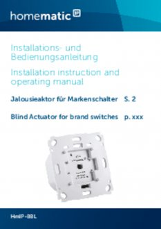 Handleiding van Homematic IP Jaloezie en lamellen schakelaar voor merk-wipvlak