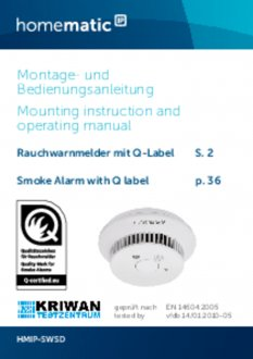 Handleiding van Homematic IP Slimme rookmelder
