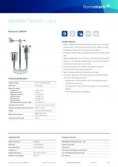 Datasheet van Homematic IP Weerstation pro