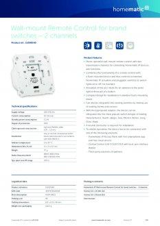 Datasheet van Homematic IP Draadloze drukknop voor merk-wipvlak