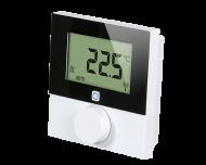 De draadloze thermostaat met groot display meet temperatuur en luchtvochtigheid en is geschikt voor opbouw montage aan de wand.