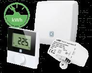 Het Alpha IP slimme elektrische verwarming pakket bevat een thermostaat, een inbouw schakel module en een access point voor verbinding met de Alpha IP app.