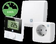 Het Alpha IP slimme elektrische verwarming pakket bevat een thermostaat, een stekkerschakelaar en een access point voor verbinding met de Alpha IP app.