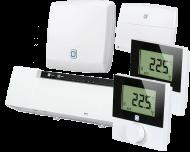 Het Alpha IP slimme vloerverwarming pakket bevat 1 zoneregelaar voor aansturing van de vloerverwarming verdeler, 2 draadloze thermostaat voor twee zones, 1 module voor aansturing van de CV-ketel en 1 access point voor verbinding met de Alpha IP app.