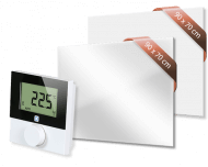 Set met Heat4All ICONIC Classic 750 en Heat4All ICONIC Spiegel 750 infraroodpaneel en draadloze Alpha IP thermostaat