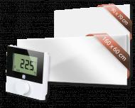 Set met Heat4All ICONIC Classic 750 en Heat4All ICONIC Spiegel 1250 infraroodpaneel en draadloze Alpha IP thermostaat