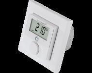 De Homematic IP thermostaat met 24V schakelende uitgang meet temperatuur en luchtvochtigheid en is geschikt voor inbouw in een inbouwdoos in de wand.