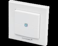De Homematic IP drukknop met twee knoppen werkt op batterijen en is geschikt voor opbouw montage aan de wand.