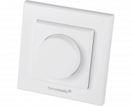 De Homematic IP draaiknop voor bediening van dimmers werkt op batterijen en is geschikt voor opbouw montage aan de wand.