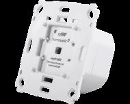 De Homematic IP dimmer kan LEDs tot 40 Watt en halogeen- en gloeilampen tot 80 Watt dimmen. De dimmer kan afgewerkt worden met 55 x 55 mm wipvlakken en afdekramen van Gira, Jung, Busch-Jaeger, Merten en Berker.
